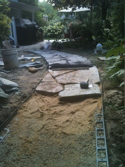 Flagstones Set In Sand Atop A Compacted Gravel Base